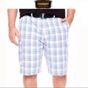 NWT 46 Foundry Cargo Plaid Blue Belted Men Shorts